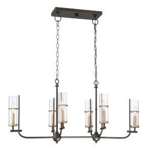 Sussex Court Smoked Iron With Aged Gold 15-Inch Six-Light Chandelier