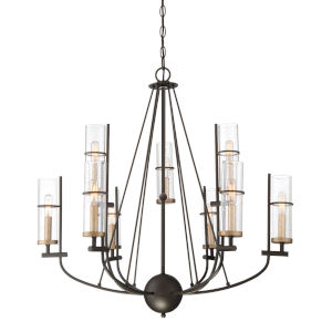 Sussex Court Smoked Iron With Aged Gold Nine-Light Chandelier