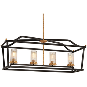 Posh Horizon Sand Black with Gold Leaf Four-Light Linear Pendant