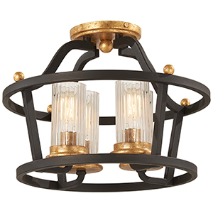 Posh Horizon Sand Black with Gold Leaf Four-Light Semi Flush Mount
