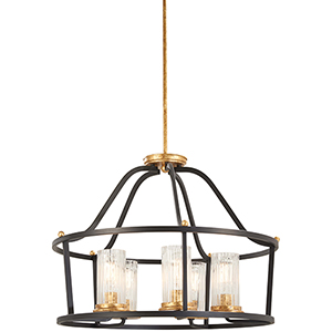 Posh Horizon Sand Black with Gold Leaf Five-Light Chandelier