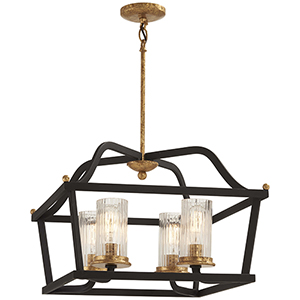 Posh Horizon Sand Black with Gold Leaf 15-Inch Four-Light Pendant