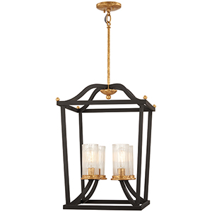 Posh Horizon Sand Black with Gold Leaf 24-Inch Four-Light Pendant