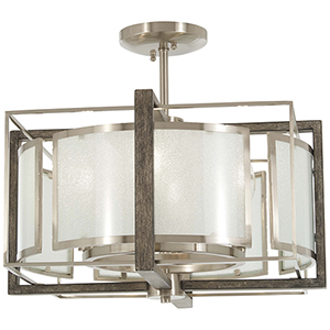 Tysons Gate Brushed Nickel with Shale Wood Four-Light Semi Flush Mount
