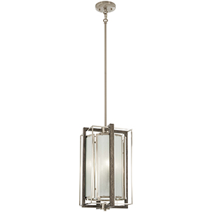 Tysons Gate Brushed Nickel with Shale Wood Four-Light Pendant