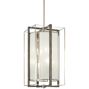 Tysons Gate Brushed Nickel with Shale Wood Eight-Light Pendant