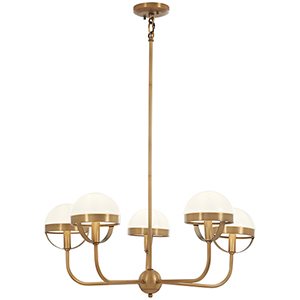 Tannehill Antique Noble Brass Five-Light Chandelier