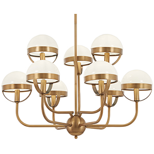 Tannehill Antique Noble Brass Nine-Light Chandelier