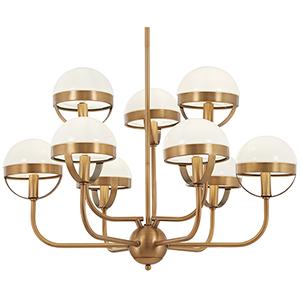 Tannehill Antique Noble Brass Nine-Light Chandelier
