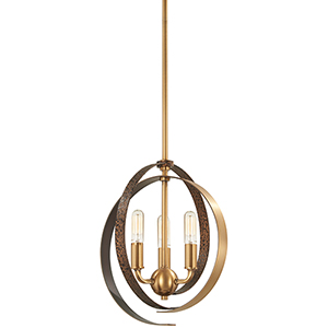 Criterium Aged Brass with Textured Iron Three-Light Pendant