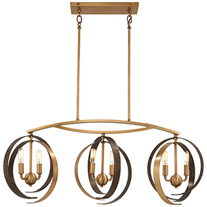 Criterium Aged Brass with Textured Iron Six-Light Island Pendant