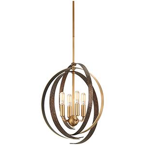 Criterium Aged Brass with Textured Iron 22-Inch Six-Light Pendant