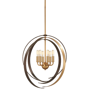 Criterium Aged Brass with Textured Iron 26-Inch Six-Light Pendant