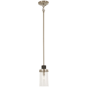 Bridlewood Stone Grey with Brushed Nickel One-Light Mini Pendant