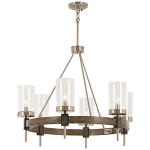 Bridlewood Stone Grey with Brushed Nickel Six-Light Chandelier