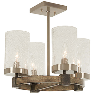 Bridlewood Stone Grey with Brushed Nickel Four-Light Semi Flush Mount
