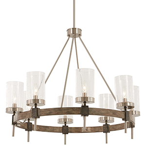 Bridlewood Stone Grey with Brushed Nickel Eight-Light Chandelier