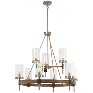 Bridlewood Stone Grey with Brushed Nickel Nine-Light Chandelier