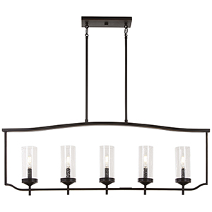 Elyton Downton Bronze with Gold Highlight Five-Light Island Pendant