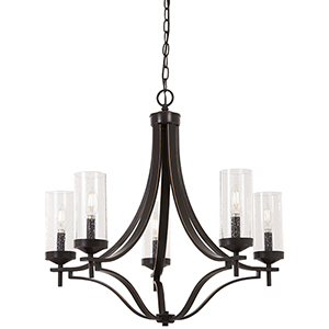 Elyton Downton Bronze with Gold Highlight Five-Light Chandelier