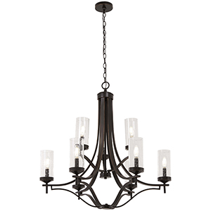 Elyton Downton Bronze with Gold Highlight Nine-Light Chandelier