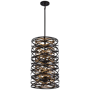 Vortic Flow Dark Bronze with Mosaic Gold Six-Light Pendant