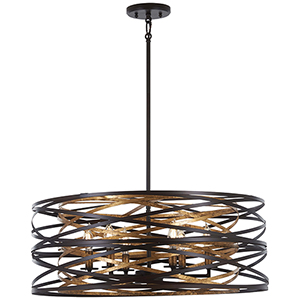 Vortic Flow Dark Bronze with Mosaic Gold 26-Inch Six-Light Pendant