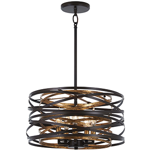 Vortic Flow Dark Bronze with Mosaic Gold Five-Light Pendant