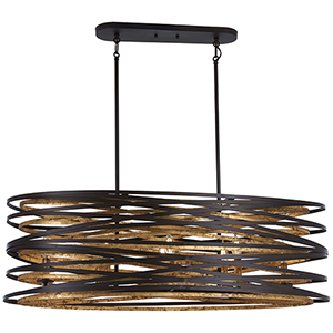 Vortic Flow Dark Bronze with Mosaic Gold Eight-Light Island Pendant