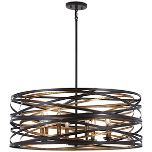 Vortic Flow Dark Bronze with Mosaic Gold 30-Inch Eight-Light Pendant