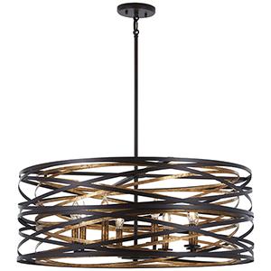Vortic Flow Dark Bronze with Mosaic Gold 30-Inch Eight-Light Pendant