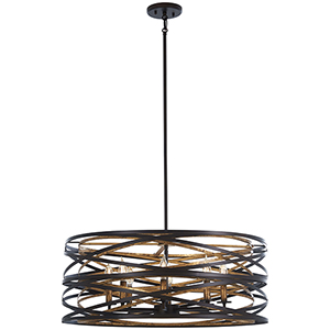 Vortic Flow Dark Bronze with Mosaic Gold 28-Inch Eight-Light Pendant