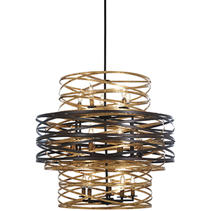 Vortic Flow Dark Bronze with Mosaic Gold 18-Light Chandelier
