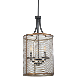 Marsden Commons Smoked Iron with Aged Gold 28-Inch Three-Light Pendant