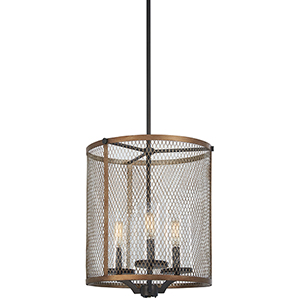 Marsden Commons Smoked Iron with Aged Gold 25-Inch Three-Light Pendant