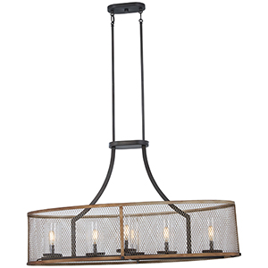 Marsden Commons Smoked Iron with Aged Gold Six-Light Pendant
