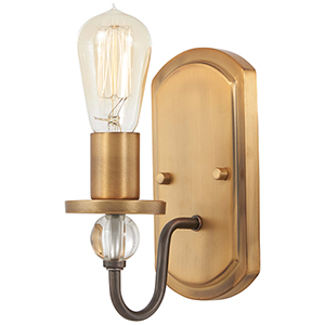 Safra Harvard Court Bronze with Natural Brushed Brass One-Light Bath Sconce