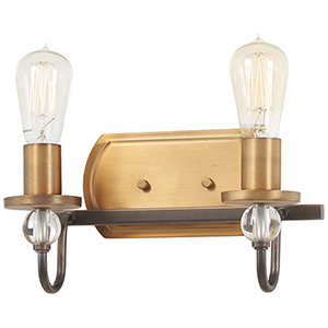 Safra Harvard Court Bronze with Natural Brushed Brass Two-Light Bath Vanity