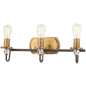 Safra Harvard Court Bronze with Natural Brushed Brass Three-Light Bath Vanity