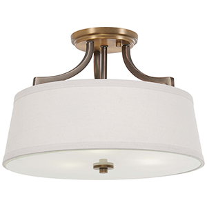 Safra Harvard Court Bronze with Natural Brushed Brass Three-Light Semi Flush Mount