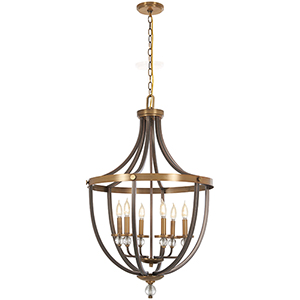 Safra Harvard Court Bronze with Natural Brushed Brass Six-Light Pendant