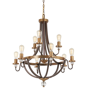 Safra Harvard Court Bronze with Natural Brushed Brass Nine-Light Chandelier