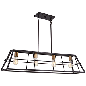 Keeley Calle Painted Bronze with Natural Brush Four-Light Linear Pendant