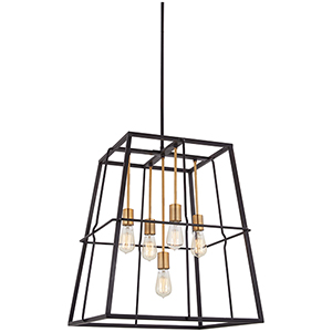 Keeley Calle Painted Bronze with Natural Brush Five-Light Pendant
