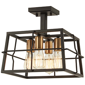 Keeley Calle Painted Bronze with Natural Brush Four-Light Semi Flush Mount