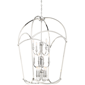 Jupiters Canopy Polished Nickel 12-Light Chandelier