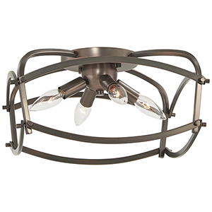 Jupiters Canopy Harvard Court Bronze Four-Light Flush Mount