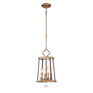 Ava Libertine Pale Gold With Distressed Bronze Four-Light Pendant