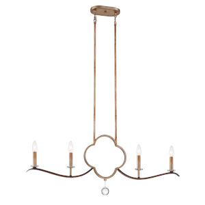 Ava Libertine Pale Gold With Distressed Bronze Four-Light Chandelier
