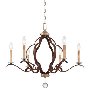 Ava Libertine Pale Gold With Distressed Bronze Six-Light Chandelier